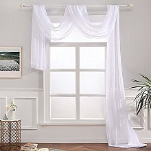 MIULEE Semi Sheer Curtain Scarf Elegant Home Decor
