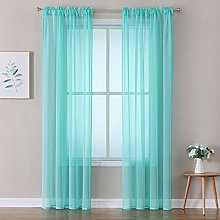 MIULEE Tiffany Blue Linen Textured Sheer Curtain