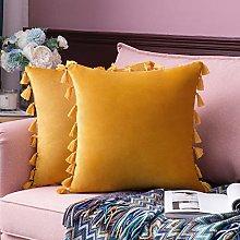 MIULEE Velvet Tasseled Cushion Covers Bohemian