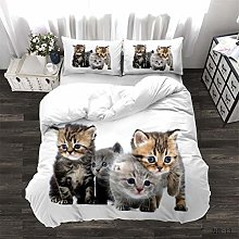 MIUNNG Duvet Cover 3D Unicorn Cat and Horse Animal