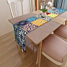 Miwaimao Table Runner Colorful Striped Living Room