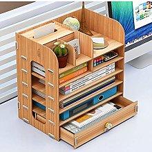 Miwaimao Wooden Book File Holder, Storage Shelf,