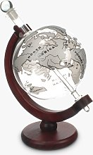 Mixology World Globe Decanter with Aeroplane, 1L, Silver/Clear
