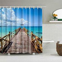 MJHUS Shower curtainNew Beach Trees Scenery Print