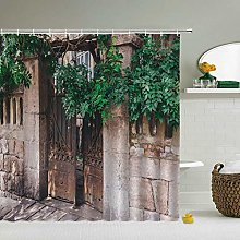 MJHUS Shower curtainRural Pastoral Flower Scenery