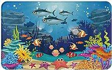 MJIAX Bath Mat Bathroom Rugs,Blue Ocean Tropical