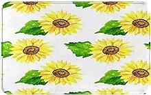 MJIAX Bath Mat Bathroom Rugs,Bright Sunflower With