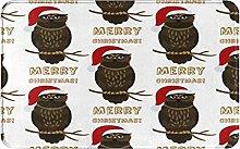 MJIAX Bath Mat Bathroom Rugs,Christmas Owl With