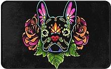 MJIAX Bath Mat Bathroom Rugs,Dog Head With Flowers