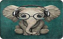 MJIAX Bath Mat Bathroom Rugs,Elephant With Glasses