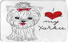 MJIAX Bath Mat Bathroom Rugs,Terrier With Its