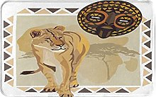 MJIAX Bath Mat Bathroom Rugs,Tiger With African