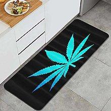 MJIAX Kitchen Rug,Blue Cannabis Weed Leaf,Non-Slip