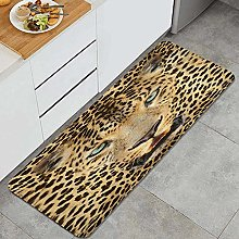 MJIAX Kitchen Rug,Leopard Predator Animal with