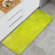 MJIAX Kitchen Rug,Lime Green Grunge Hazy Color