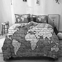 MJIAX Microfiber Duvet Cover Sets,Beige,world map