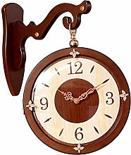 MJK Novelty Wall Clock,Solid Wood Double-Sided