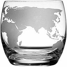 Mjkl 2PCS Etched Globe Glass 250 ML Whiskey Glass