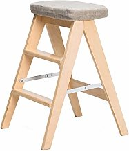 MJL Folding 3 Tread Step Stool/Ladder/Chair, Wood