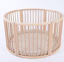 MJmark Wooden ROUND PLAYPEN ATLAS UNO Beige Strips