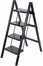 MJY Black Folding Non-Slip Step Ladder for Adult,