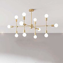 MKKM Glass Sputnik Chandelier Pendant Satin Brass