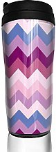 MKLQ Blue Pink Purple Chevron Curved Coffee Cup