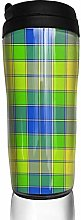MKLQ Blue Yellow Plaid Curved Coffee Cup Travel