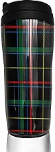 MKLQ Navy Yellow Green Plaid Curved Coffee Cup