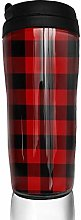 MKLQ Plaid Red and Black Curved Coffee Cup Travel