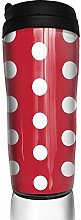 MKLQ Red and White Dots Curved Coffee Cup Travel