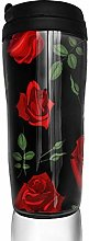 MKLQ Red Roses Pattern Curved Coffee Cup Travel