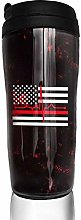 MKLQ Thin Red Line Flag Heartbeat Curved Coffee