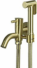 MLFPDXC-Toilet Brass Brushed Gold Handheld Bidet