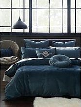MM Linen Simone Velvet Duvet Cover Set, Blue Stone