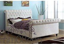 mm08enn Crushed Velvet Upholstered Sleigh Style