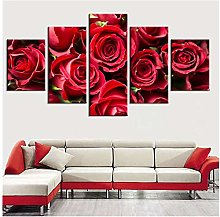 Mmdianpu Wall Art Canvas Paintings Red Rose Flower
