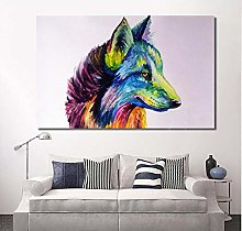 Mmdianpu Wall Pictures Colorful Wolf Animal Print
