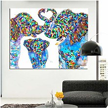 Mmdianpu Wall Prints Animal Watercolor Elephant