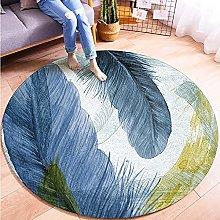 MMHJS Light Luxury Style Round Printed Carpet,