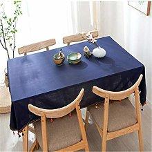 MMHJS Navy Blue Cotton Linen Tablecloth Classical