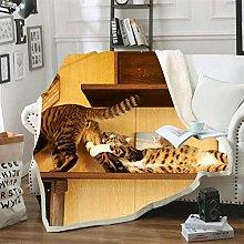Mmjjshdp Blankets Animal Cat Print Sherpa Blanket