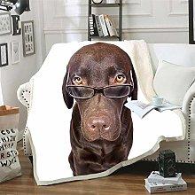 Mmjjshdp Blankets Animal Dog Print Sherpa Blanket