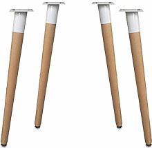 mmmy Set of 4 Solid Wood Furniture Legs,Round