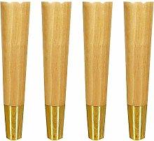 mmmy Solid Wood Furniture Legs,Oak Sofa Feet,Brass