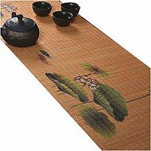 MMQGQ Natural Bamboo Silk Printing Table Runner,