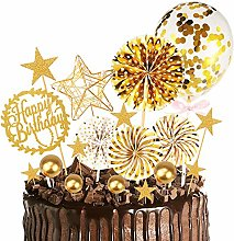 MMTX Gold Happy Birthday Cake Topper with Glitter