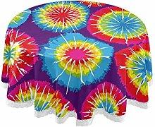 Mnsruu 152.4 CM Round Colorful Tie Dye Swril