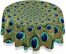 Mnsruu 152.4 CM Round Feather Peacock Mandala