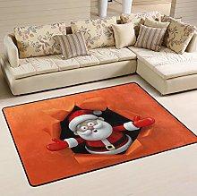 Mnsruu 3D Santa Claus Christmas Area Rug for